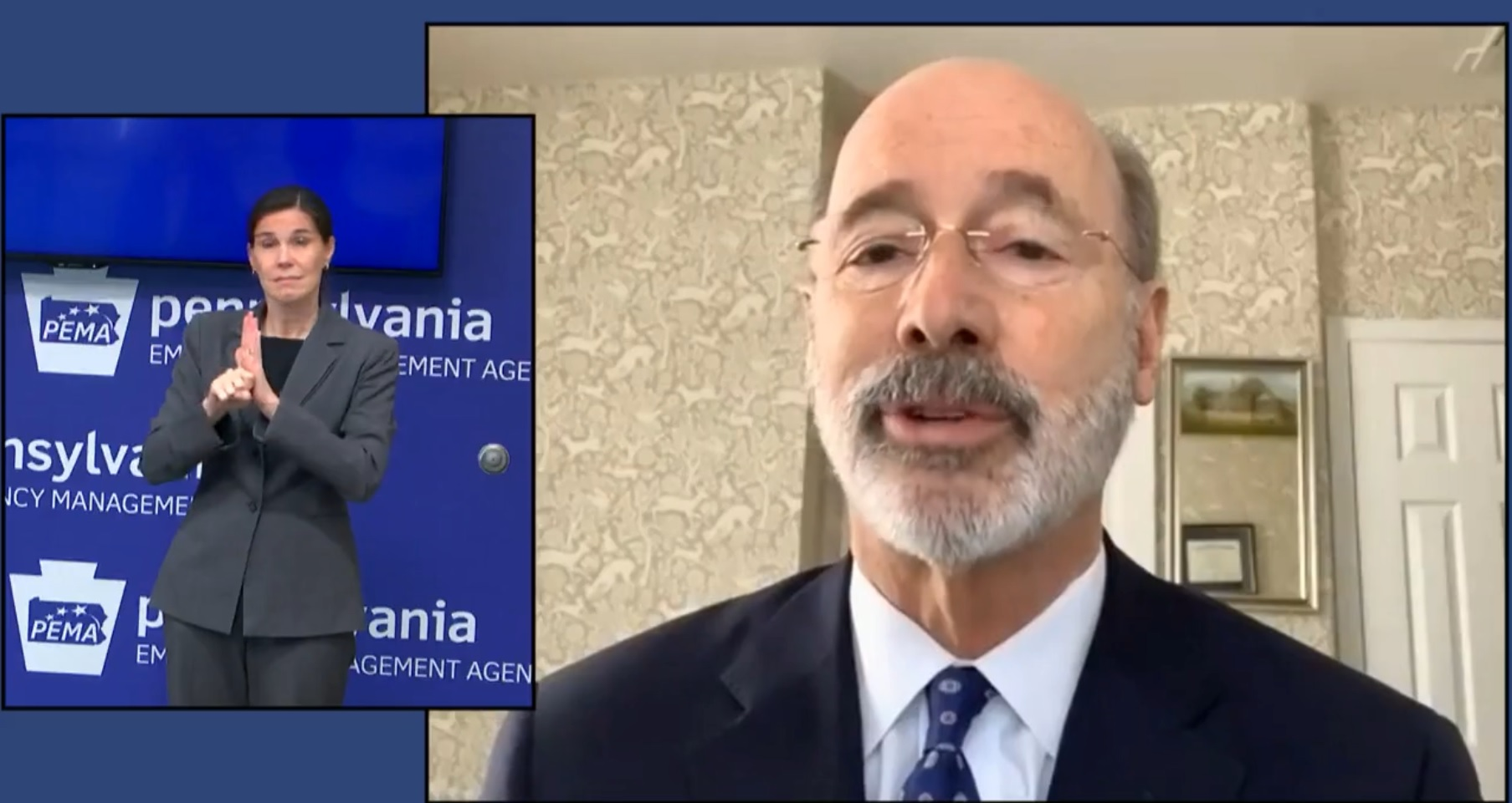 Gov. Tom Wolf speaks during an online media briefing on Wednesday, Dec. 30, 2020.