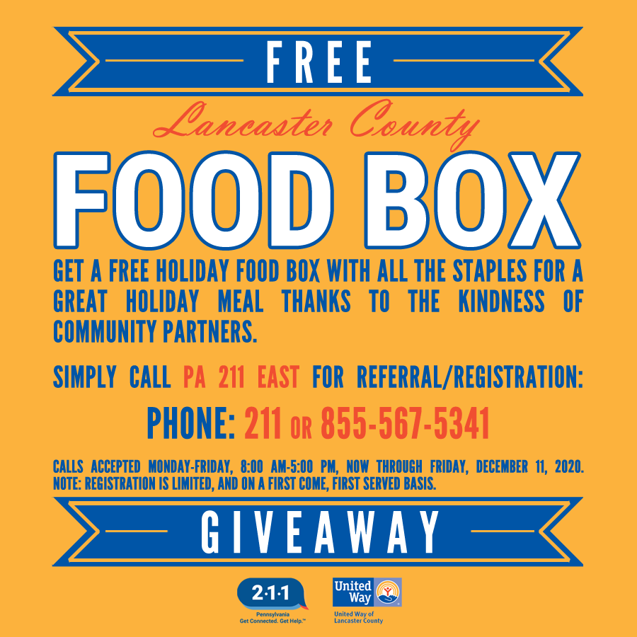 Register for Lancaster Christmas food boxes through the end of the week