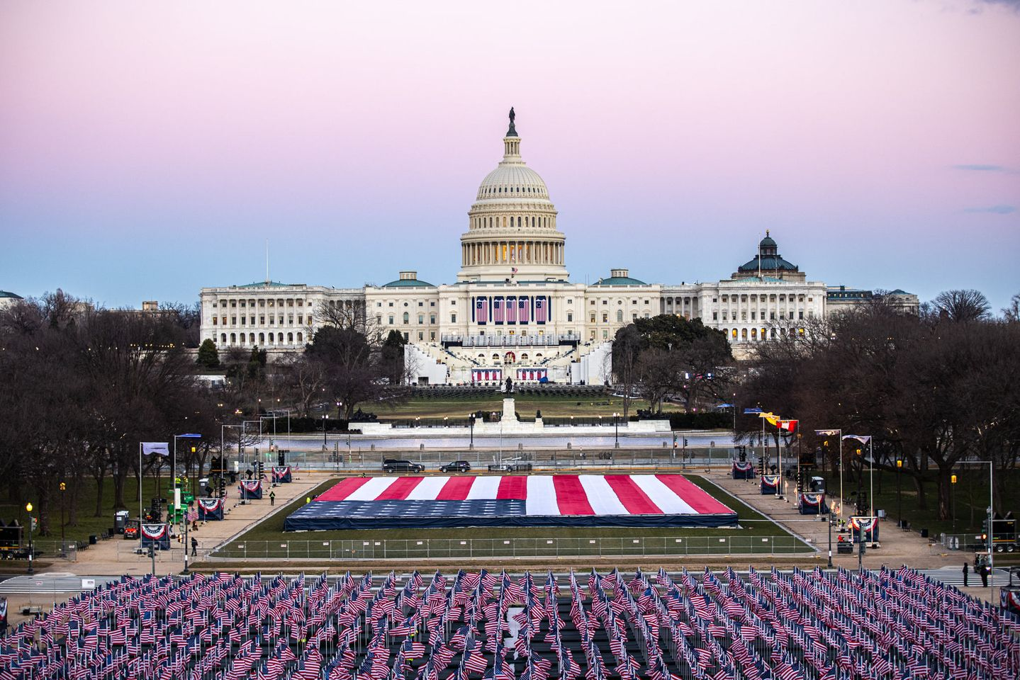 In lieu of the large crowd that would normally attend, more than 200,000 flags fly the National Mall for President Joe Biden's inauguration on Wednesday, Jan. 20, 2021. (Source: JoeBiden.com)