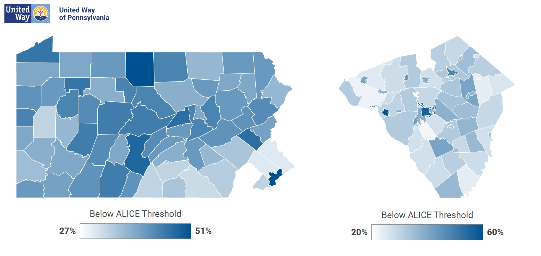 These color-coded maps show percentages by county, left, and municipality, right, of households below the ALICE minimum survival budget. (Source: United Way of Pa.)