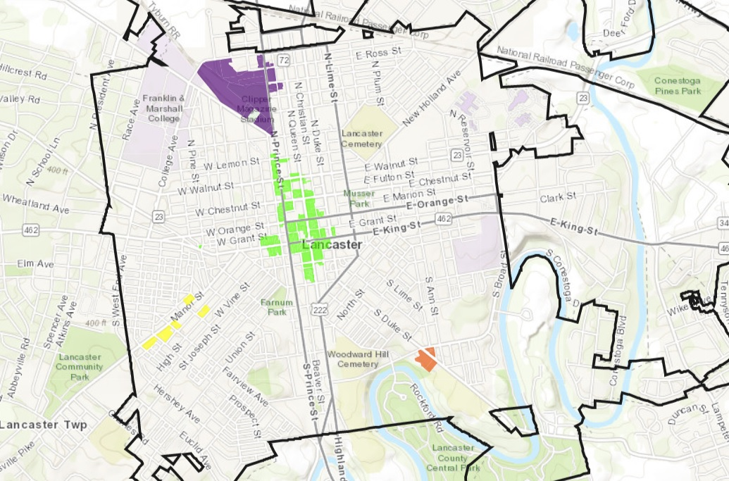 The areas in green, purple, orange and yellow designate sections of Lancaster city's CRIZ. (Source: City of Lancaster)