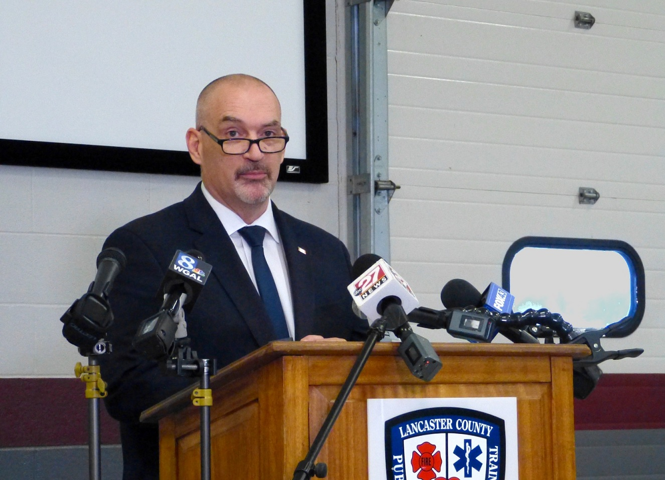 Lancaster County Commissioner Craig Lehman speaks at a media briefing at the county Public Safety Training Center on Thursday, Jan. 28, 2021. (Photo: Tim Stuhldreher)