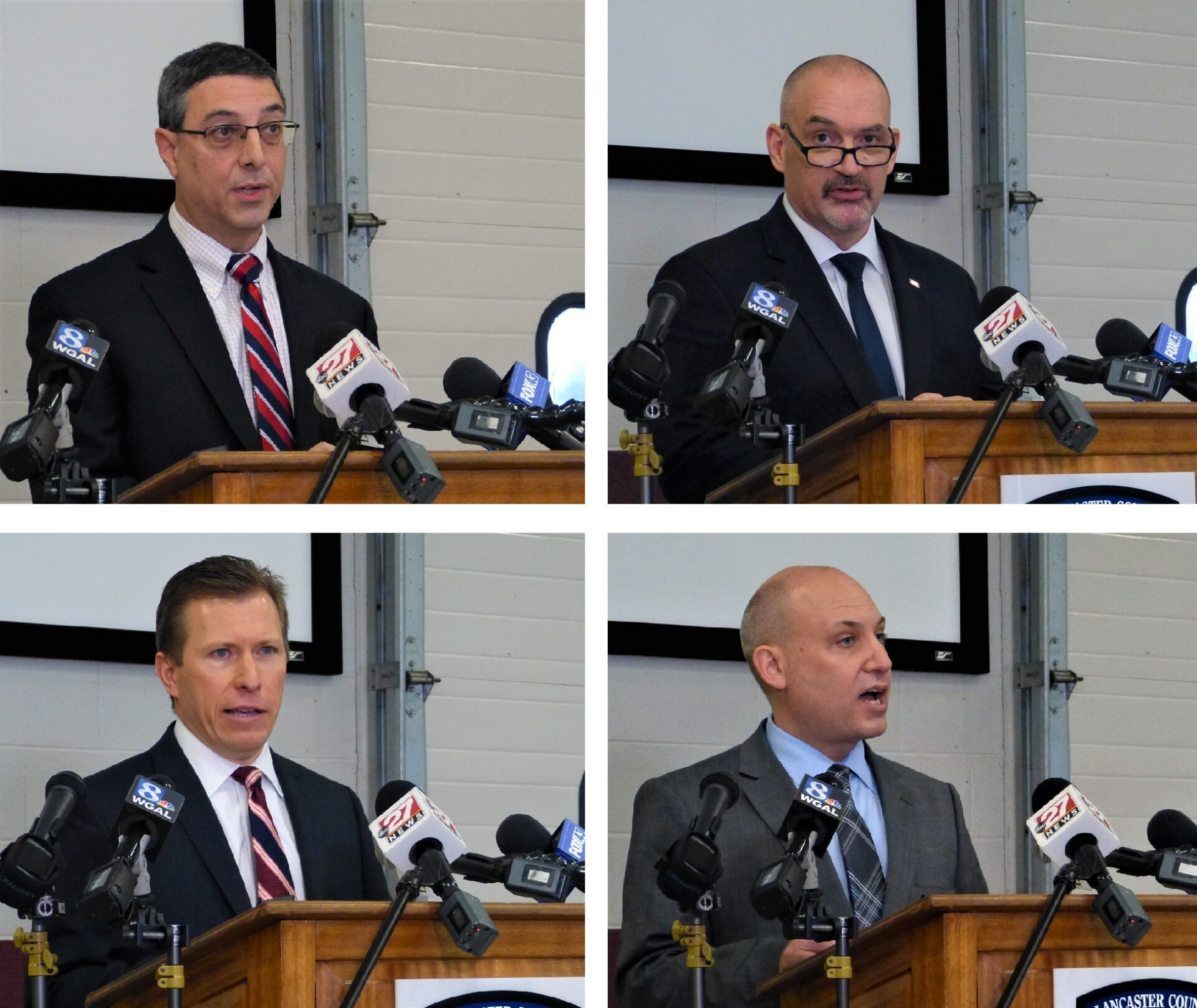 Lancaster County officials speak at a media briefing on Covid-19 at the county Public Safety Training Center on Thursday, Jan. 28, 2021. Top row: County Commissioners Ray D'Agostino, left, and Craig Lehman. Bottom row: County Commissioner Josh Parsons, left, and Dr. Michael Ripchinski of Penn Medicine Lancaster General Health. (Photos: Tim Stuhldreher)
