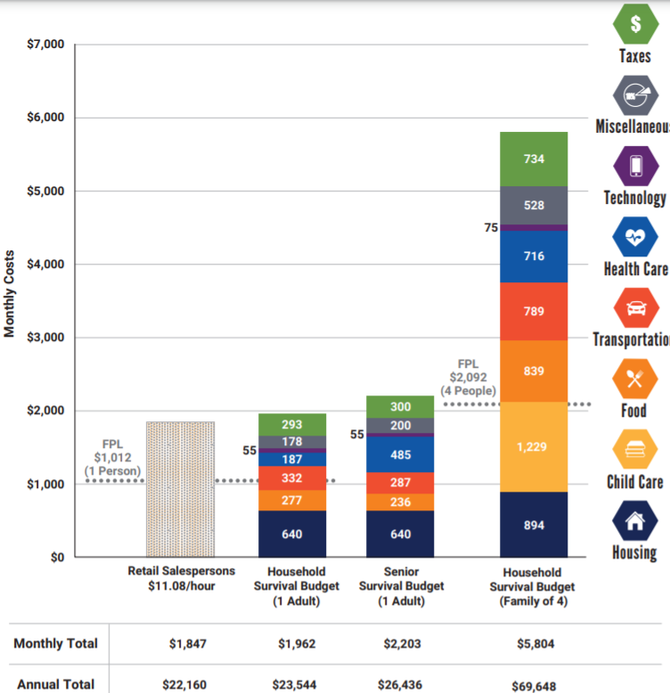 This chart shows estimated budget breakdowns by category as of 2018. (Source: ALICE Project - Pennsylvania)