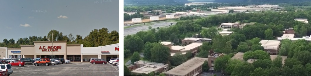 At left, the A.C. Moore store at Manchester Crossroads, York. At right, an aerial view of HACC's Harrisburg campus. (Sources: Google Street View, HACC)