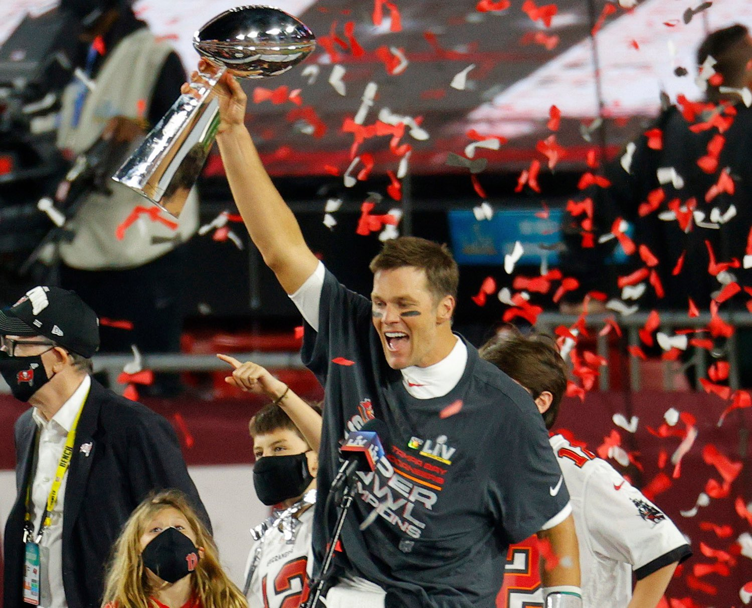 Quarterback Tom Brady hoists the Lombardi Trophy after leading the Tampa Buccanneers to a win over the Kansas City Chiefs, 31-9, in Super Bowl LV on Sunday, Feb. 7, 2021. (Source: NFL.com)