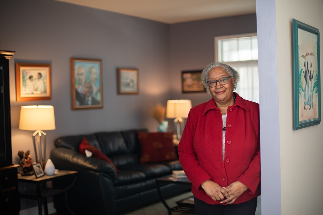 Deborah Gadsden is seen in the living room of her Mount Joy home.  She and her husband, Nathan, have a blended family that includes five children, 12 grandchildren and one great-grandchild. (Photo: PhotOle Photography)