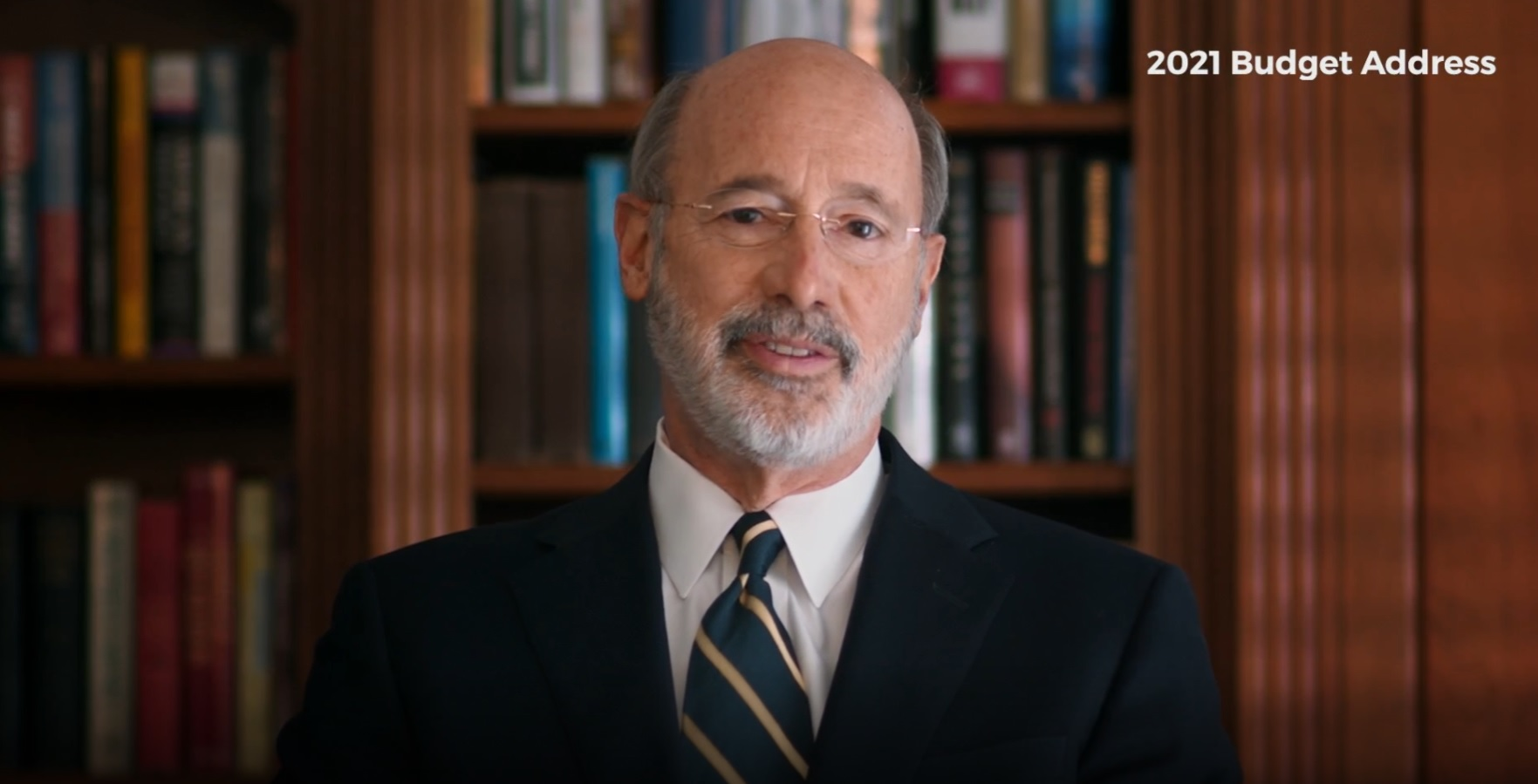 Gov. Tom Wolf delivers his 2021 budget address online on Wednesday, Feb. 3, 2021. (Source: PA.gov)