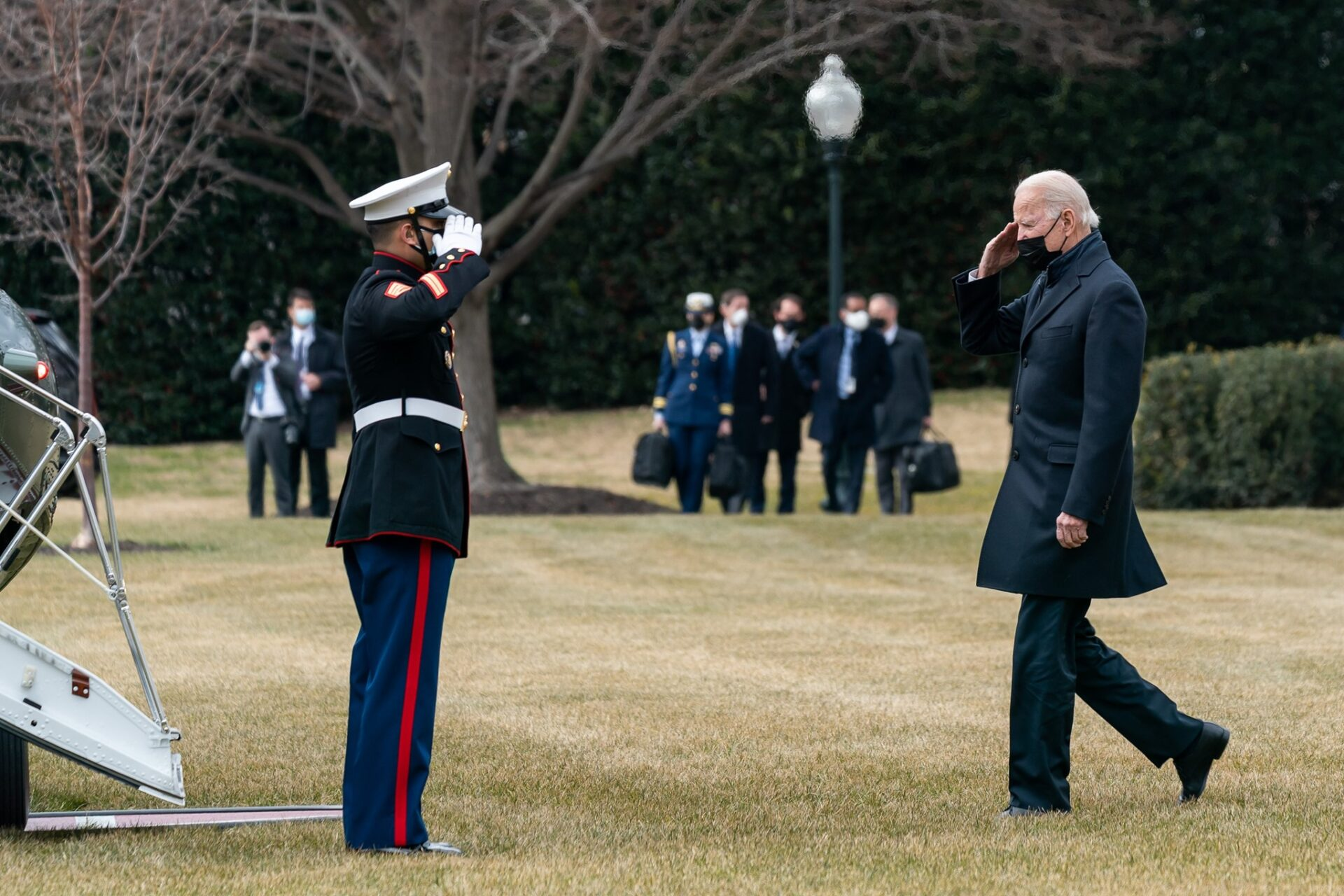 President Joe Biden salutes a member of the armed forces during his first visit to Walter Reed National Military Medical Center on Jan. 30. (Source: whitehouse.gov)