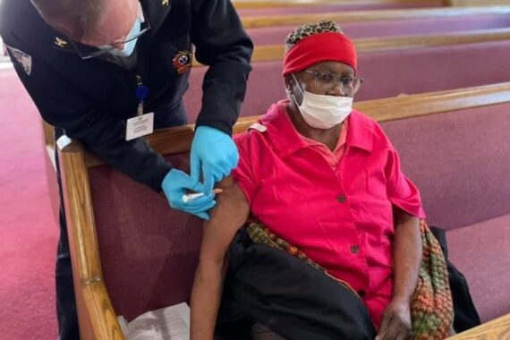 A Lancaster EMS staff member provides a Covid-19 vaccination at Faith Tabernacle Church of God in Christ on Sunday, Feb. 21, 2021. (Source: Lancaster EMS)