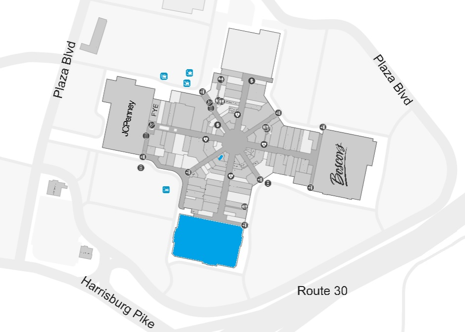 The blue denotes the former Bon-Ton location at Park City Center. (Source: Park City Center | OUL)