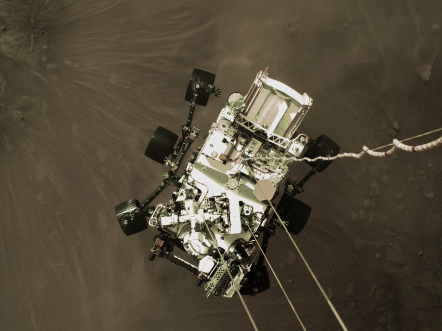 Perserverance, NASA's newest Mars rover, on its descent to the surface of Mars on Feb. 19. (Source: NASA)