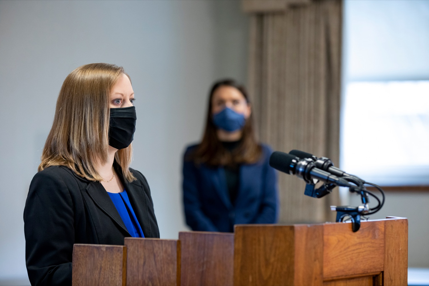 Dr. Leigh Ann DeShong, medical director for Masonic Village in Elizabethtown, speaks during a press conference on Monday, March 29, 2021.