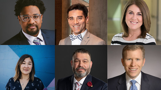 The speakers in the 2021 virtual State of the County event, from left to right; top to bottom: Kevin Ressler, Dr. Mike Diller, Jan Bergen, Naomi Young, Pedro Rivera and Commissoner Josh Parsons. (Source: Lancaster Chamber)