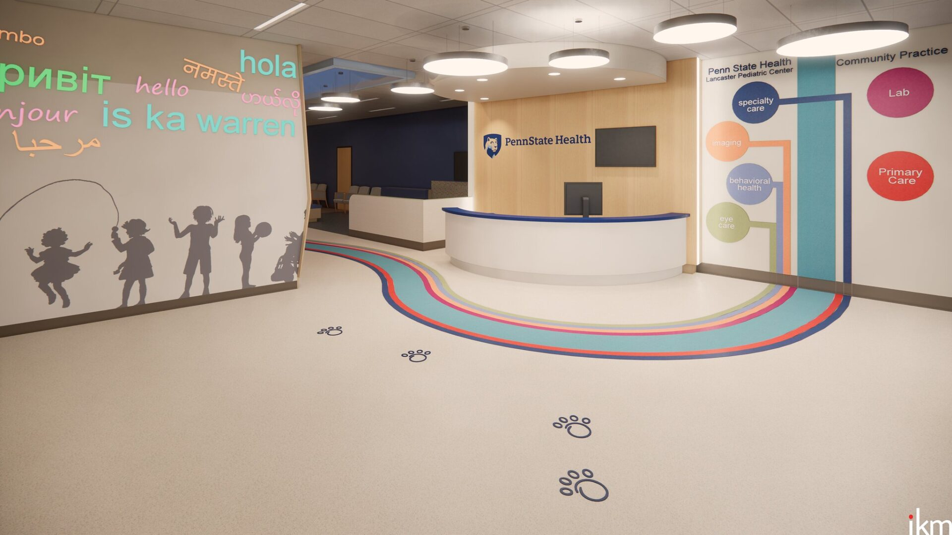A rendering of the interior of the upcoming Penn State Lancaster Pediatric Center. (Source: Penn State Health)