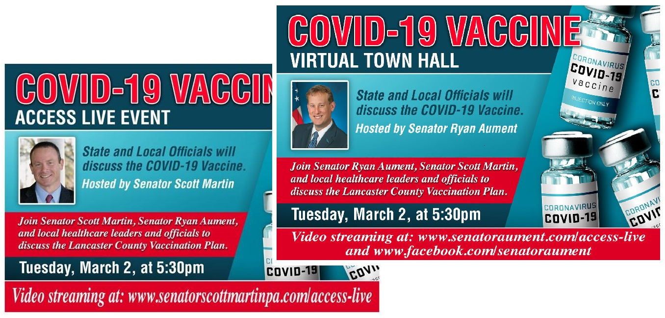 Sens. Scott Martin and Ryan Aument are both promoting this evening's town hall on social media.