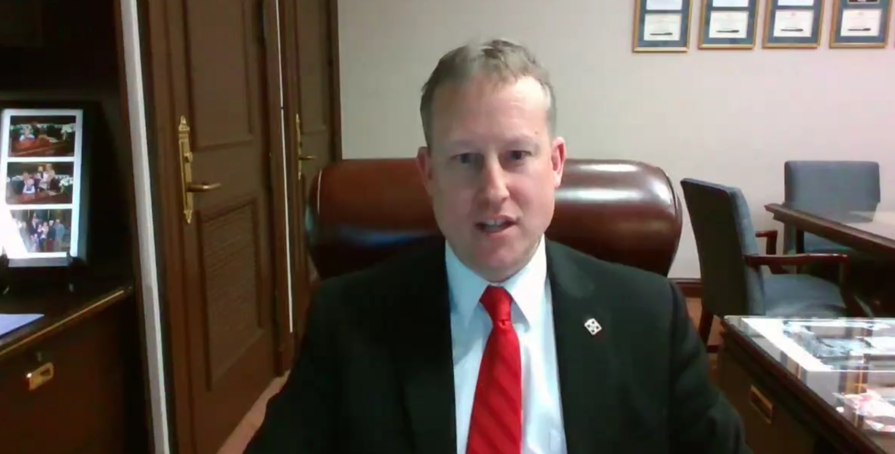 State Sen. Ryan Aument speaks during an online town hall on Tuesday, March 2, 2021.