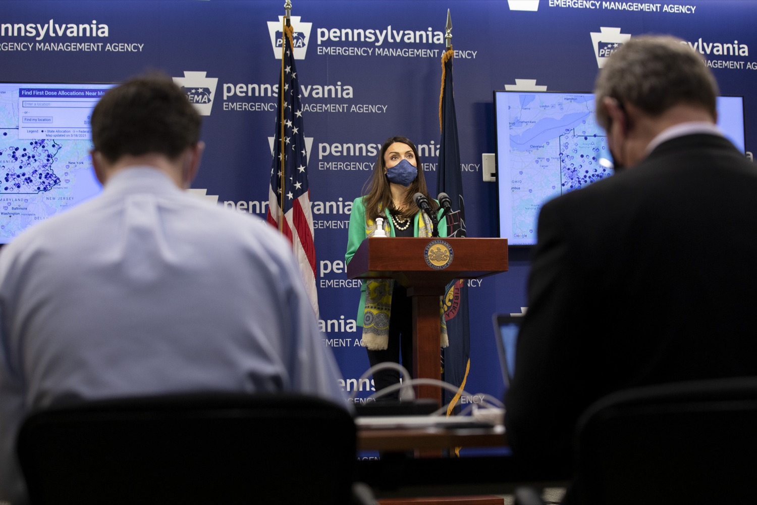Pa. Acting Health Secretary Alison Beam, center, talks about Pennsylvania's Covid-19 vaccine strategy during a media briefing on Thursday, March 18, 2021. (Source: Pa.gov)