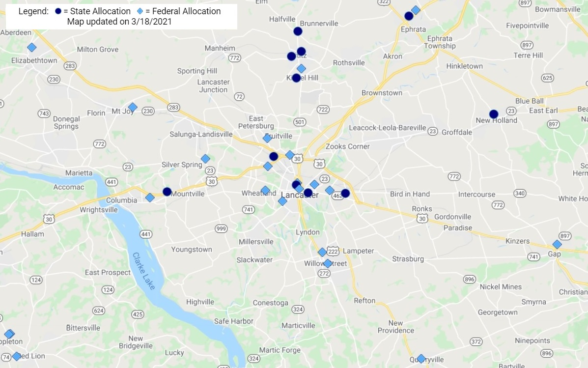 This map shows Covid-19 vaccine providers in Lancaster County as of March 18, 2021. Click on it to go to the state's Covid-19 vaccine page, which has an interactive version. (Source: Pa.gov)