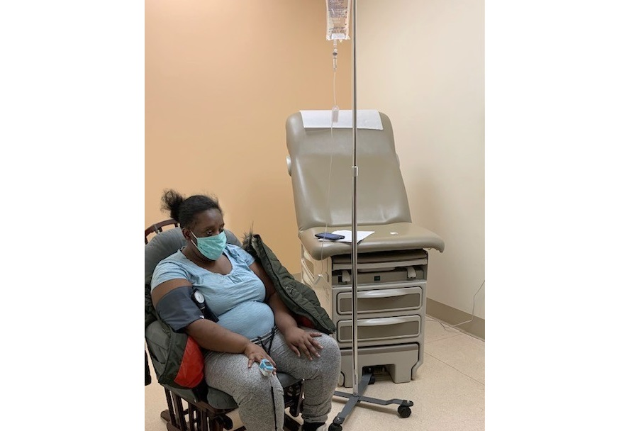 A Lancaster Health Center patient receives an infusion of Bamlanivimab, a neutralizing antibody drug, on  Friday, Feb. 26, 2021. (Source: Provided)