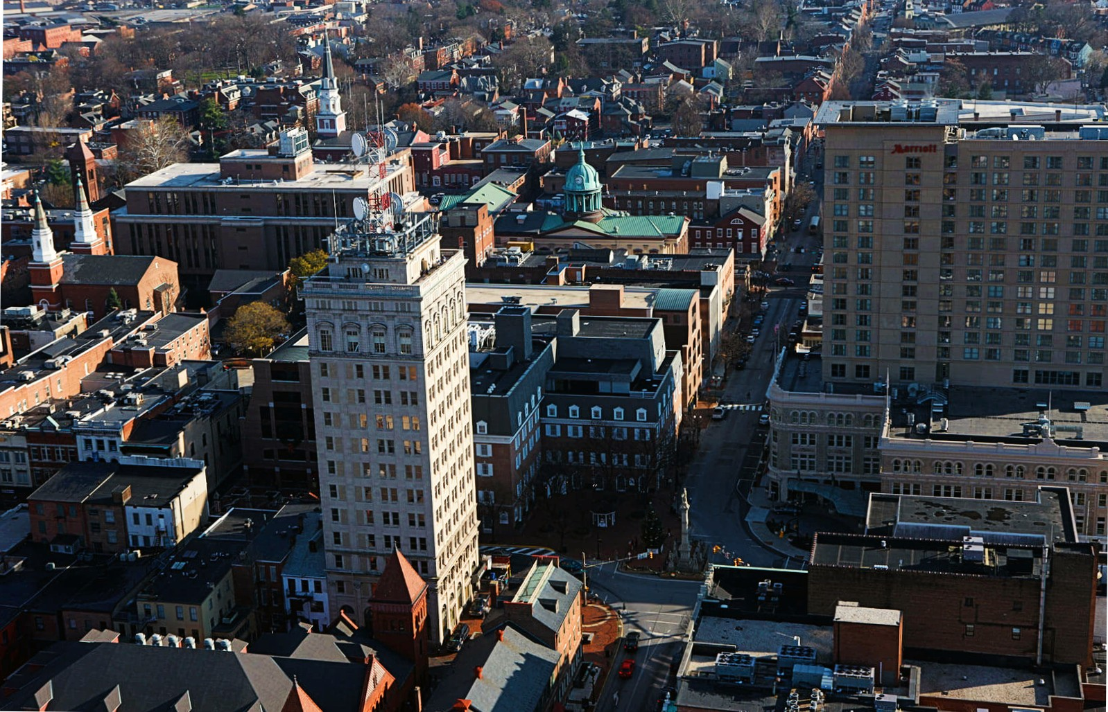 An aerial view of Lancaster looking up East King Street. (Source: EDC Lancaster)