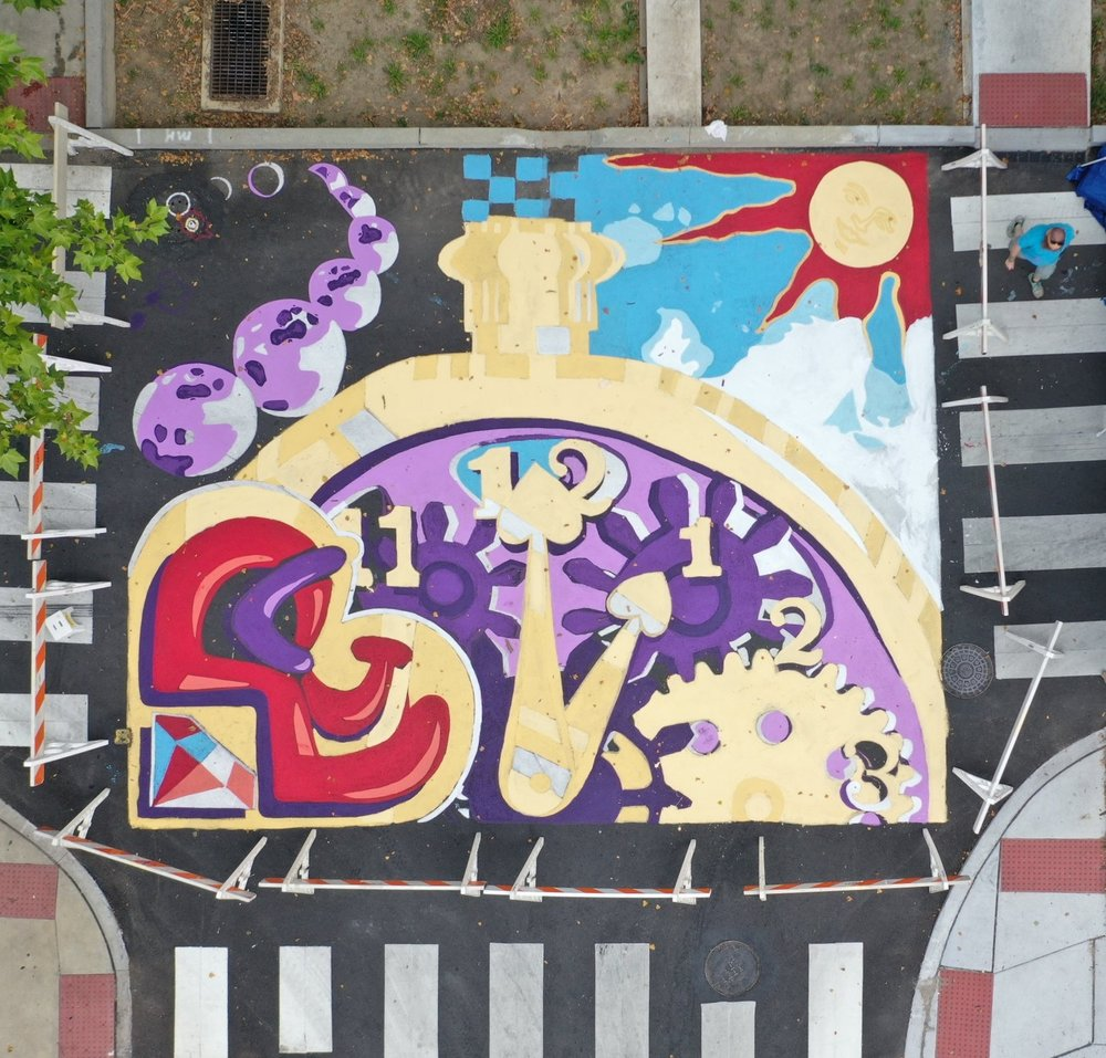 The mural at the intersection of Crystal and First Streets in Lancaster city. (Source: Lancaster Public Art)