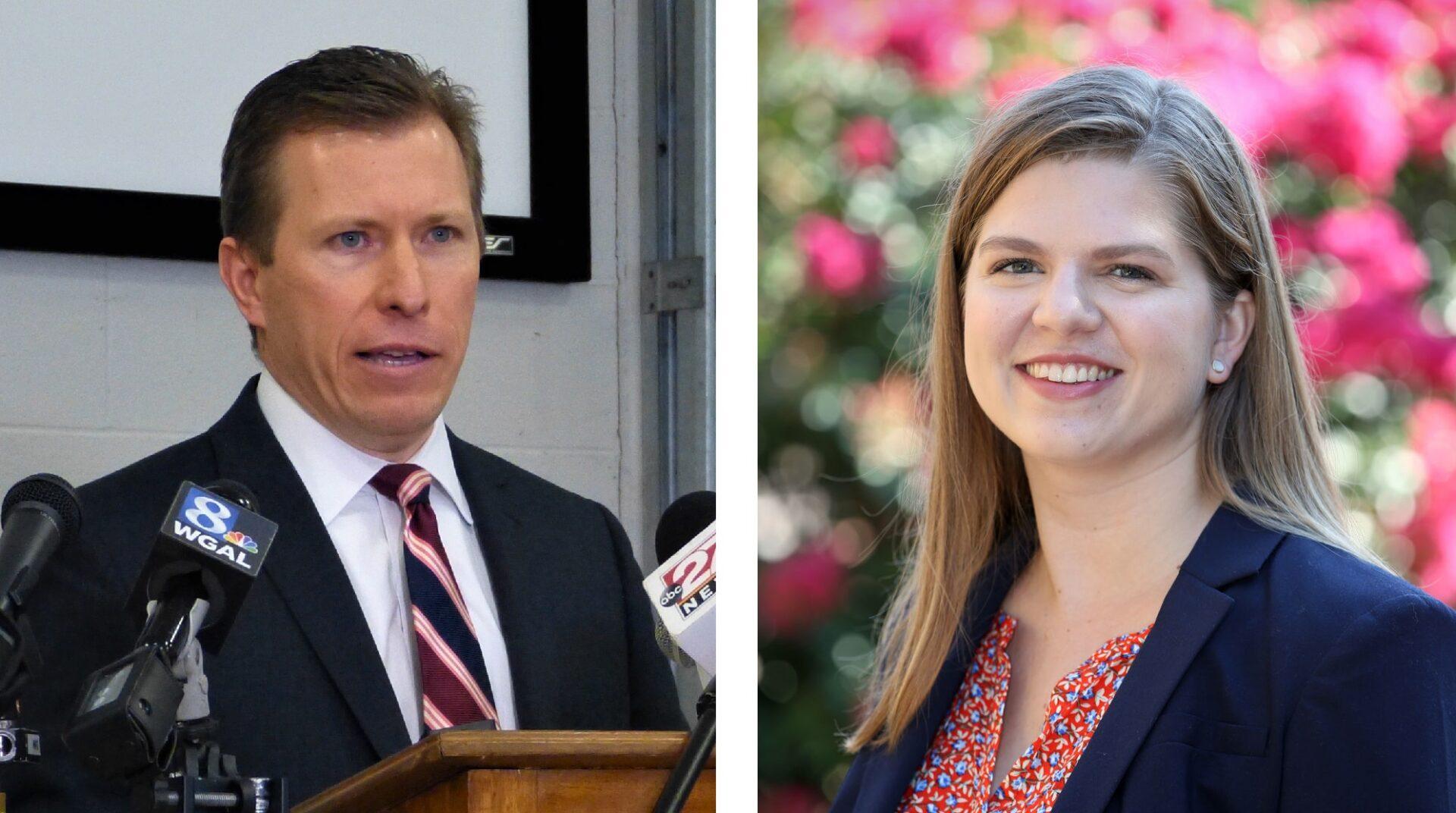 County Commissioner Josh Parsons, left; Franklin & Marshall Professor Jennifer Meyer, right.