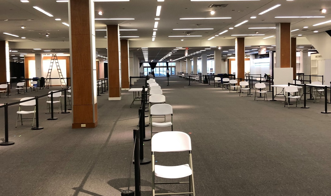The interior of Lancaster's Community Vaccination Center at Park City Center. (Source: Commissioner Josh Parsons)