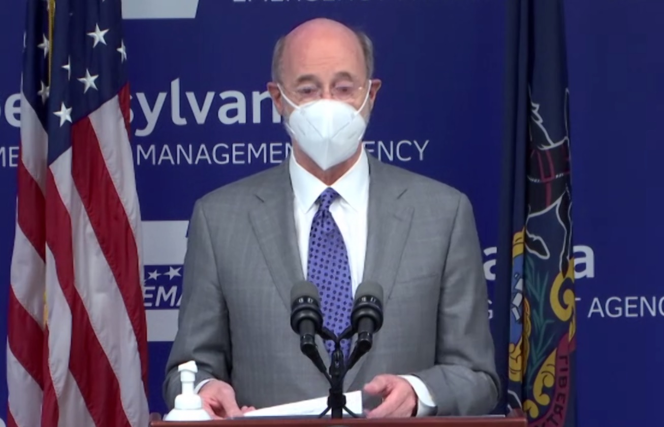 Pa. Gov. Tom Wolf speaks during an online media briefing on Wednesday, March 3, 2021.