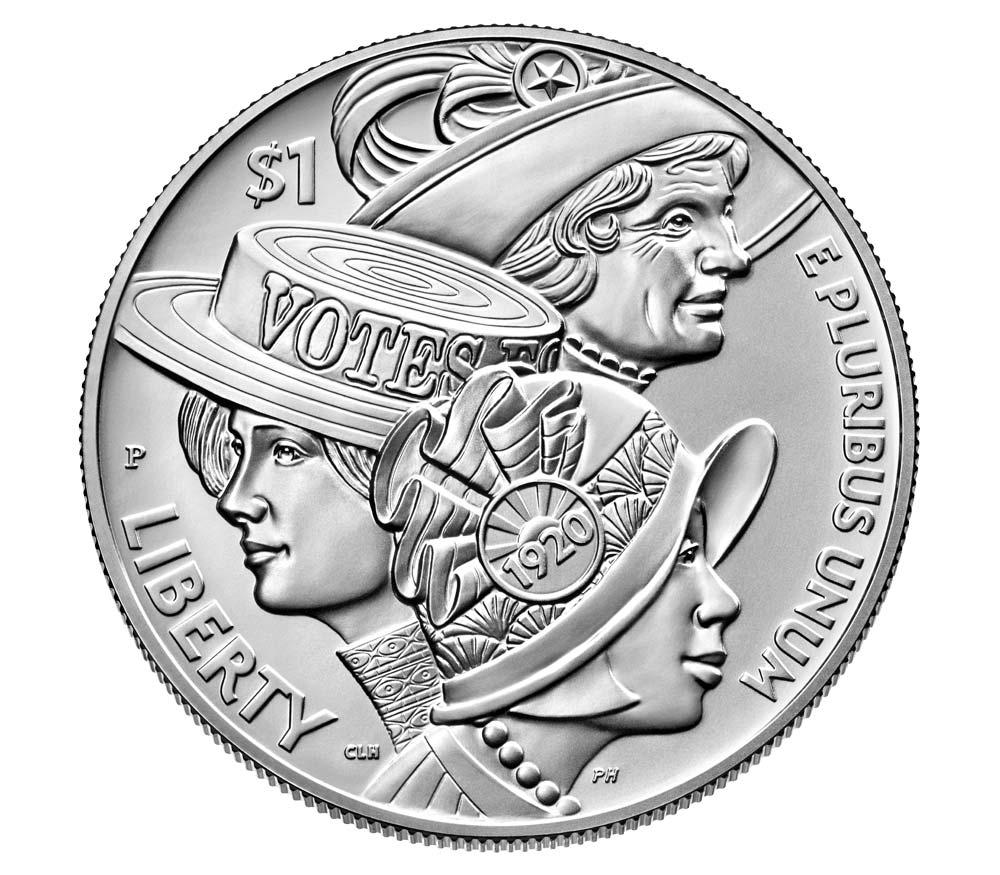 The centennial dollar coin, featuring Christina Hess's design. (Source: U.S. Mint)