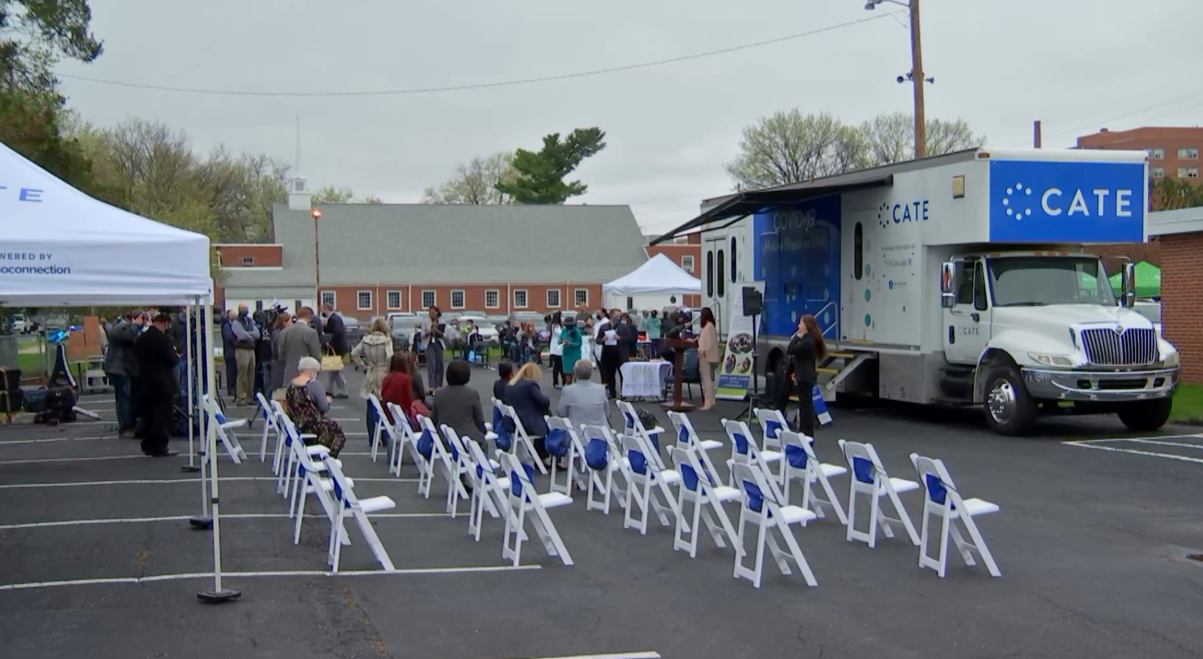 The CATE vehicle, right, serves as the backdrop for a media briefing on Pennsylvania's Covid-19 vaccine mobile clinic initiative on Monday, April 12, 2021. (Source: Pa.gov)