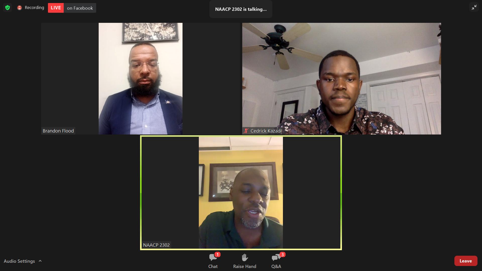 From top left, clockwise: Pa. Bureau of Pardons Secretary Brandon Flood; Cedrick Kazadi, Millersville University chapter of the NAACP; and Blanding Watson, NAACP Lancaster, are seen in a screenshot from the NAACP Lancaster's webinar on the pardon system on Wednesday, April 7, 2021.