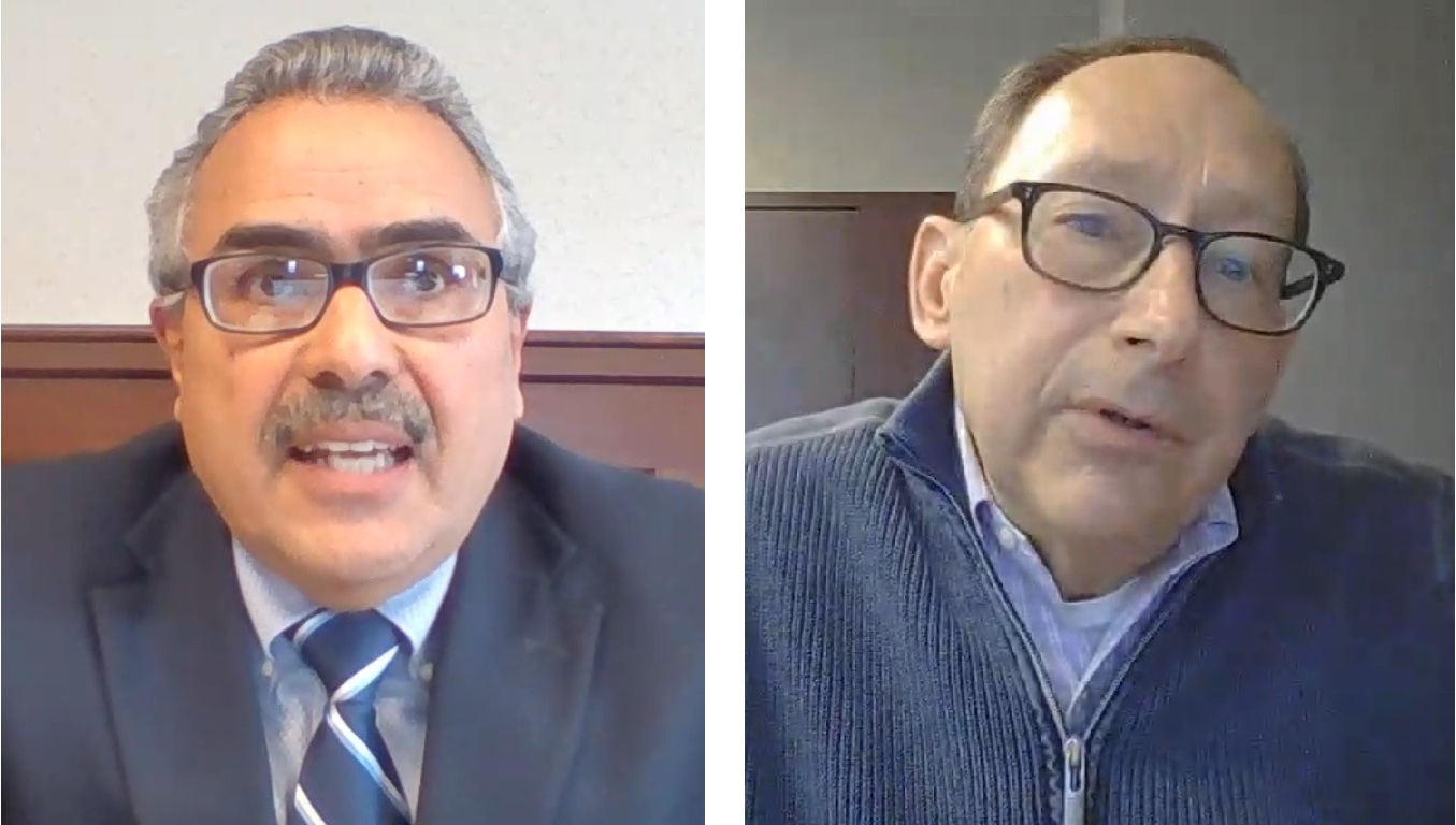 Pa. Secretary of Aging Robert Torres, left, and Lancaster County Office of Aging Executive Director Lon Wible, right, speak during an online media briefing on Thursday, April 1, 2021.