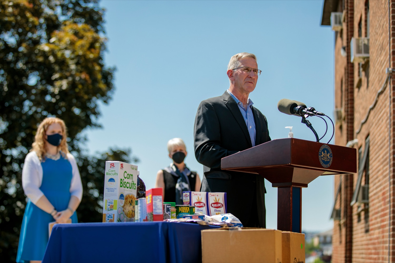 Pa. Agriculture Secretary Russell Redding announces steps to increase access to the Senior Food Box program outside Kings Terrace in Phoenixville on Wednesday, May 19, 2021. (Source: Pa.gov)