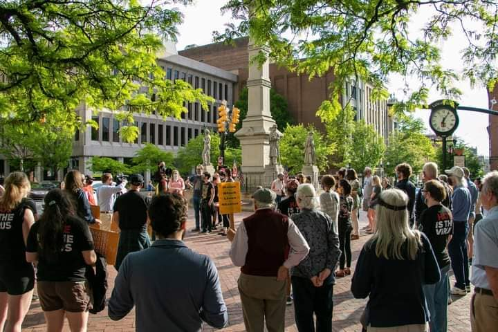People gather at Penn Square in Lancaster City for a rally against Asian hate crimes on May 15. (Source: Julia Cao)
