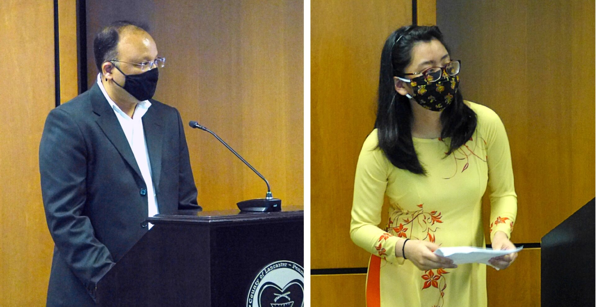 Manish Jhunjhunwala, president, South Asian Association of Lancaster; and Julia Cao, community organizer, speak about Asian-American Pacific Islander Heritage Month at the Lancaster County commissioners meeting on Wednesday, May 5, 2021. (Photo: Tim Stuhldreher)