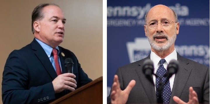 Pa. House Majority Leader Kerry Benninghoff, left, and Gov. Tom Wolf.