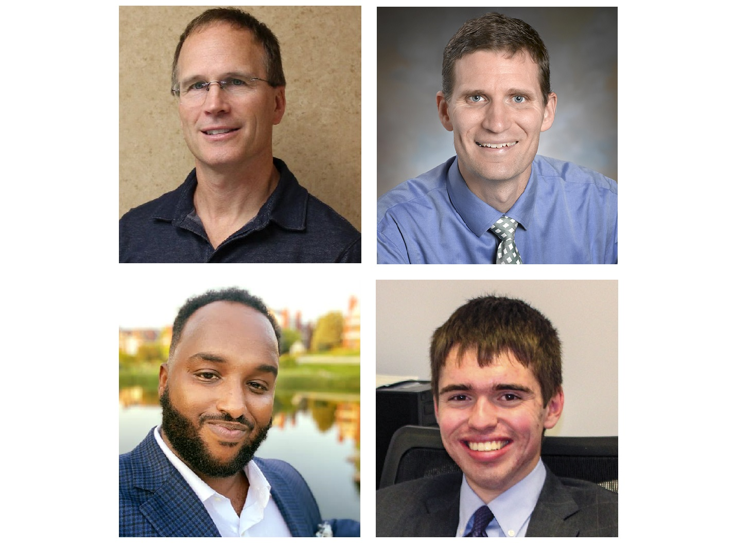 Top row: John Blowers, Dr. William Fife. Bottom row: Mustafa Nuur, Benjamin Pontz.