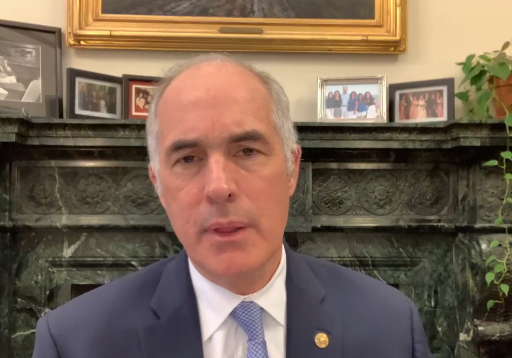 U.S. Sen. Bob Casey, D-Pa., speaks about proposed legislation to enhance 211 and police training during an online media call on Monday, May 10, 2021.