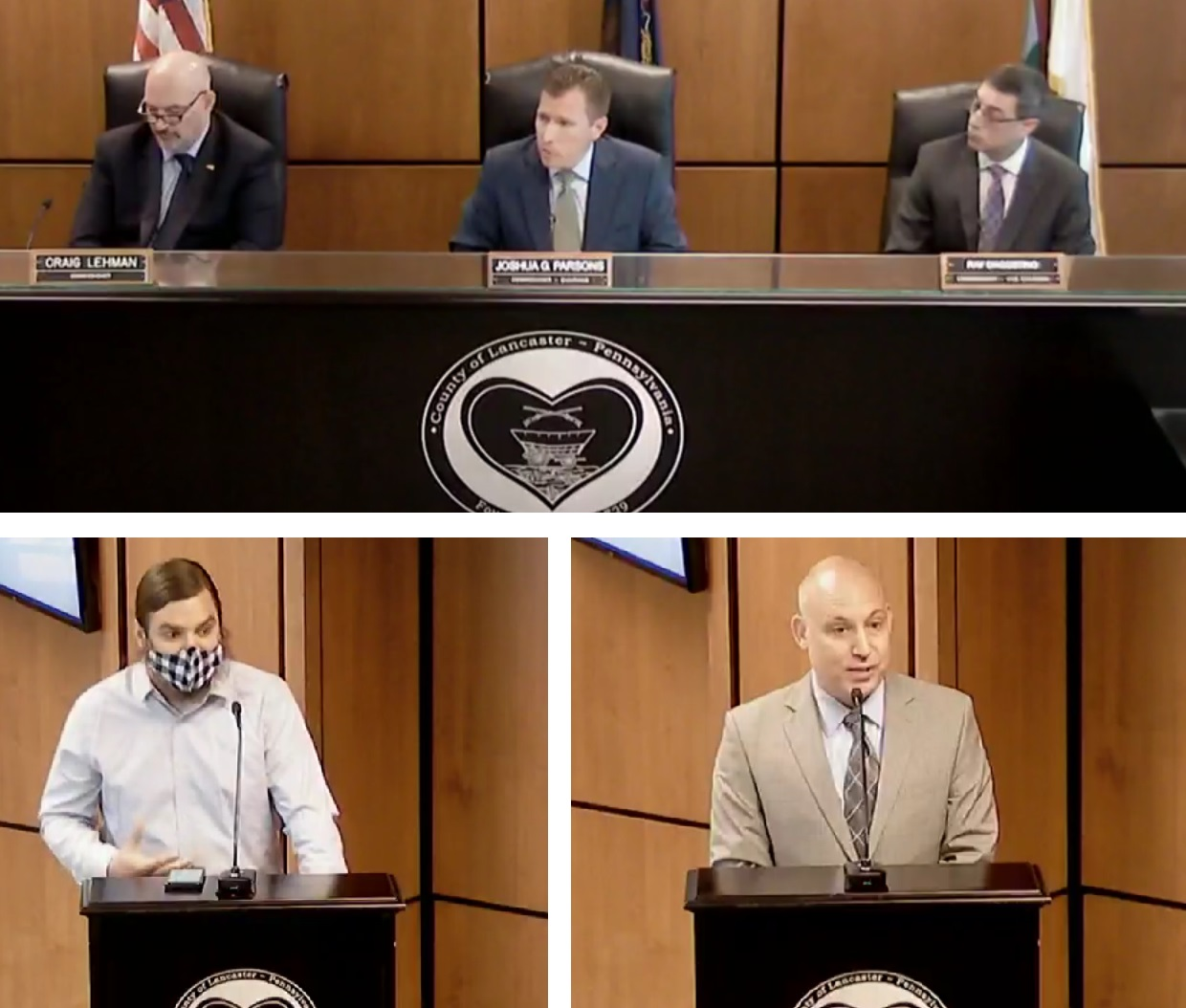 Top row, from left: Lancaster County commissioners Craig Lehman, Josh Parsons, and Ray D'Agostino. Bottom row, from left: Ben Cattell Noll, Dr. Michael Ripchinski. Online images taken from the commissioners meeting on Wednesday, May 26, 2021.