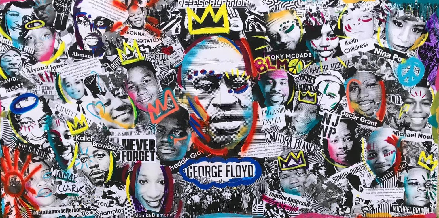 This mural honoring George Floyd and other victims of police and racial violence was created in Lancaster's Art Park in 2020. A vigil honoring Floyd's memory will take place at 6 tonight in Penn Square.