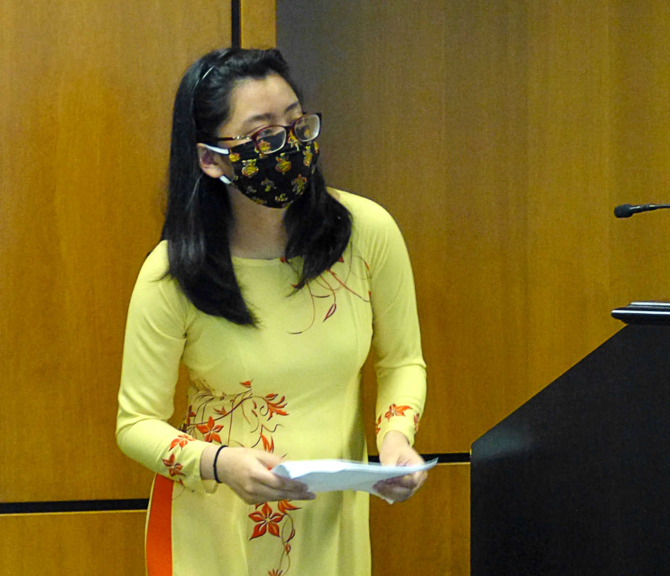 Julia Cao, community organizer, speaks about Asian-American Pacific Islander Heritage Month at the Lancaster County commissioners meeting on Wednesday, May 5, 2021. (Photo: Tim Stuhldreher)