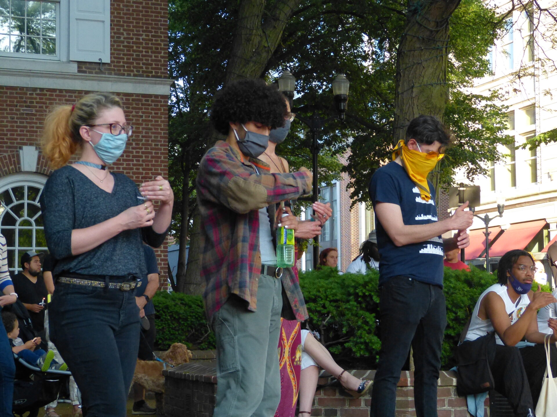 Attendees take part in a vigil in Penn Square one year after George Floyd's death, on Tuesday, May 25, 2021. (Photo: Olivia Smucker)