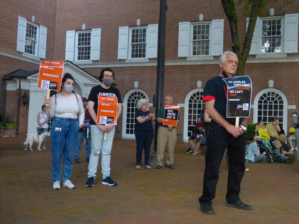 Vigil attendees listen to the speakers. (Photo: Olivia Smucker)