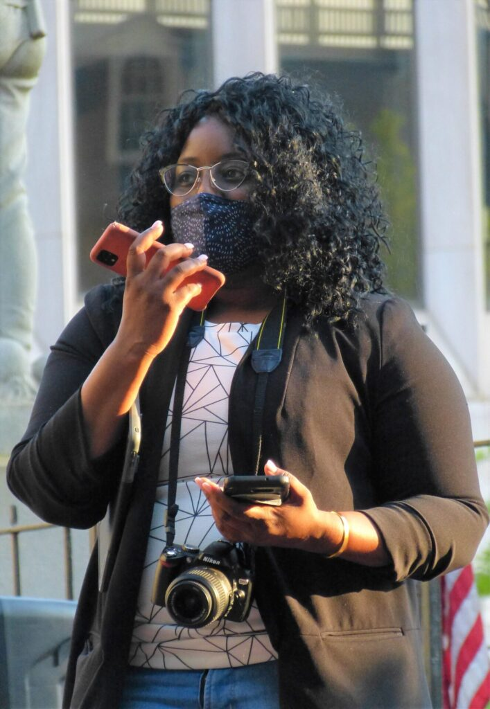 Jasmyne King, director, Center for Racial and Gender Equity, YWCA Lancaster, organized the vigil. (Photo: Olivia Smucker)