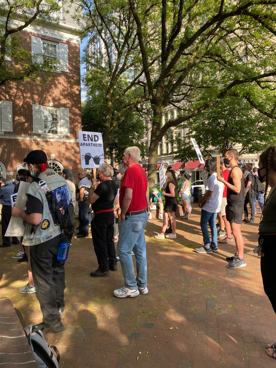 Some of the over 100 attendees at the Vigil in Solidarity of Palestine in Penn Square on Wednesday, May 19, 2021. (Photo: Olivia Smucker)