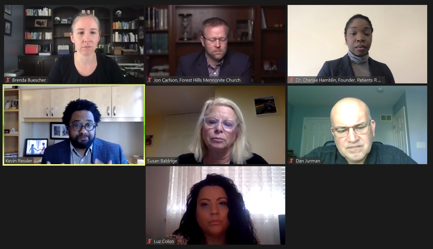 Panelists participate in an online forum on vaccine equity sponsored by the United Way of Lancaster County on Friday, May 14, 2021. Top: Brenda Buescher, Jon Carlson, Dr. Cherise Hamblin; Middle: Kevin Ressler, Susan Baldrige (moderator), Dan Jurman; Bottom: Luz Colon.