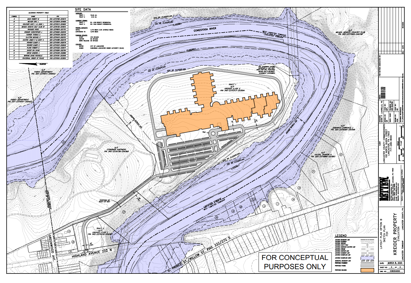 A conceptual drawing shows an example prison footprint on property at 100 Greenwood Ave., Lancaster Township. The drawing was developed to show there is enough acreage for the proposed facility; the actual footprint, if built, could differ dramatically from what is depicted. (Source: Rettew    Lancaster County)