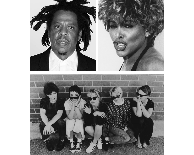 Clockwise from top left: Jay-Z, Tina Turner, the Go-Go's. (Source: Rock & Roll Hall of Fame)