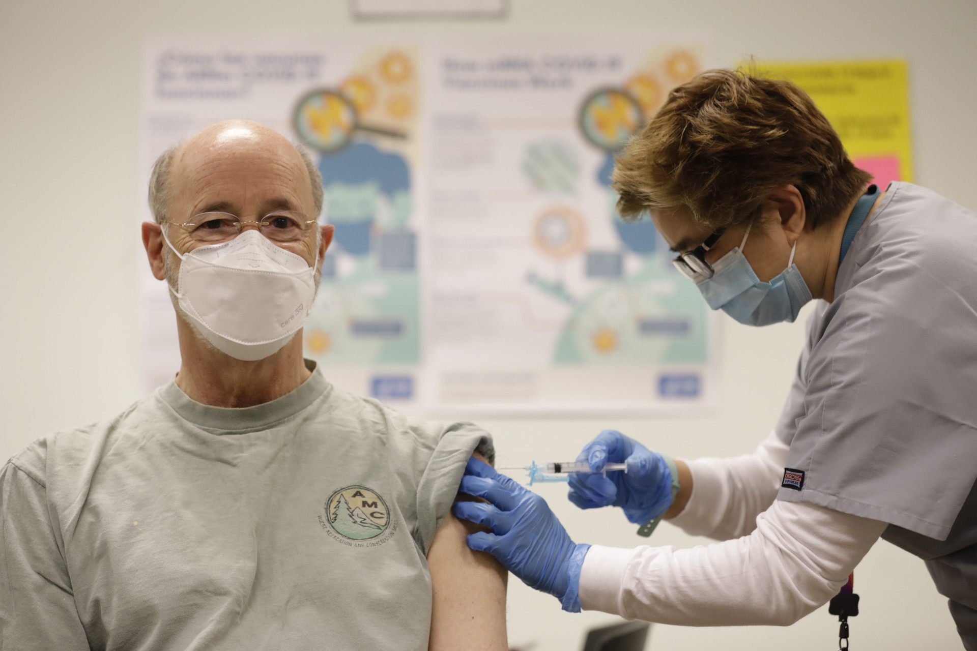 Dr. Asceline Go administers the second dose of the Moderna vaccine to Gov. Tom Wolf on Monday, May 17, 2021, at Family First Health in York. (Source: Pa.gov)